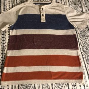 Two-button short sleeved striped shirt